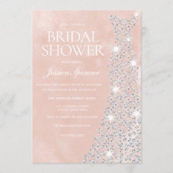 beautiful blush diamond dress bridal shower invitation