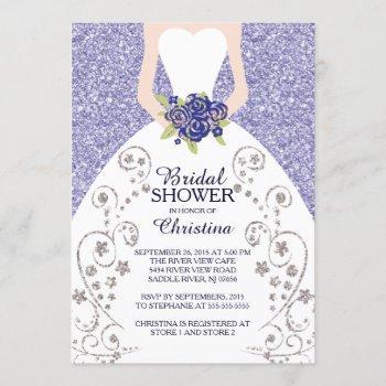 beautiful bride glitter bridal shower invitation