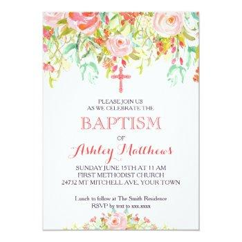 beautiful floral baptism invitation, baby invitation
