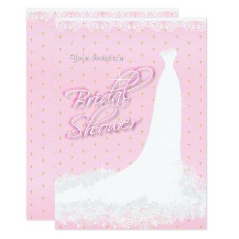 beautiful pink satin religious bridal shower invitation