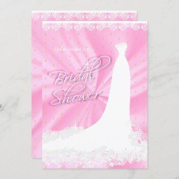beautiful pink satin religious bridal shower invitation