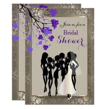 beautiful purple floral & antique silver damask invitation