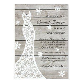 beautiful rustic winter bridal shower invitation