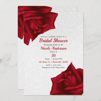 beautiful white texture red roses bridal shower invitation