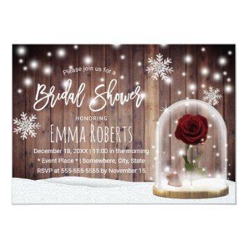 beauty rose dome rustic winter bridal shower invitation