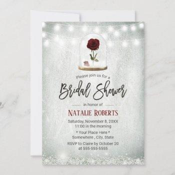 beauty rose dome winter floral bridal shower invitation