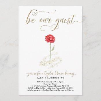 beauty & the beast couple's wedding shower invitation