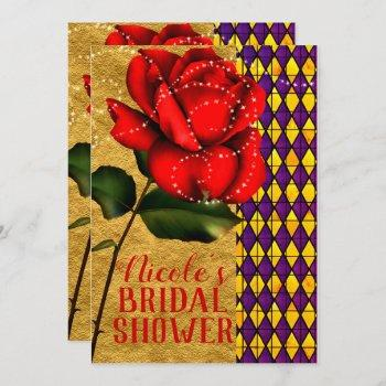 beauty & the beast red sparkle rose bridal shower invitation