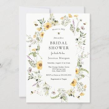 bee and delicate wildflower bridal shower invitation