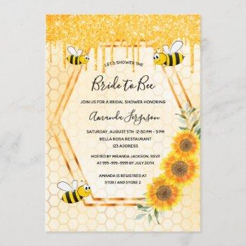 bee bridal shower gold glitter drips bride to bee invitation