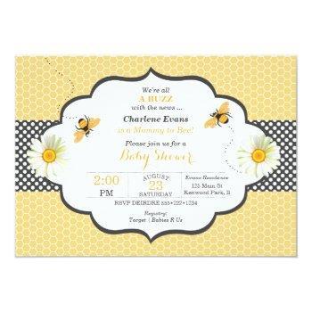 bee theme honeycomb gold & gray polka dot invitation