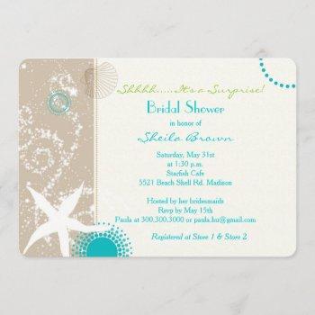 beige tan aqua beach surprise bridal shower invitation
