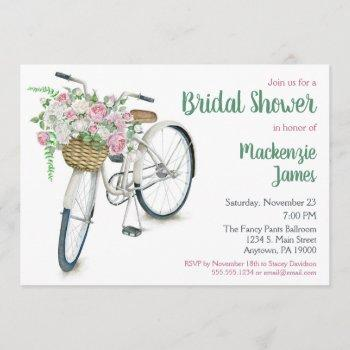 bicycle floral bridal shower invitation