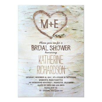 birch tree heart rustic bridal shower invites