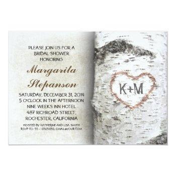 birch tree rustic bridal shower invitations
