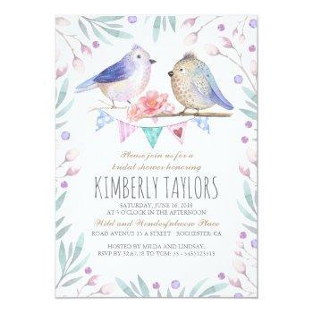 birds and pink flowers woodland bridal shower invitation
