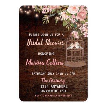 birds rustic bridal shower invitation string light