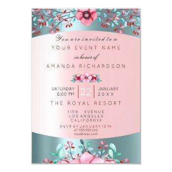 birthay 16th bridal floral pink blue tiffany aqua invitation