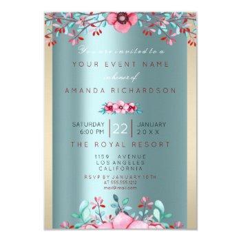 birthay 16th bridal floral rose gold tiffany aqua invitation