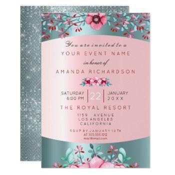 birthday 16th bridal floral pink blue tiffany aqua invitation