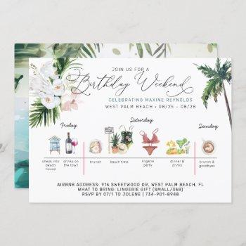 birthday weekend itinerary | palm beach invitation