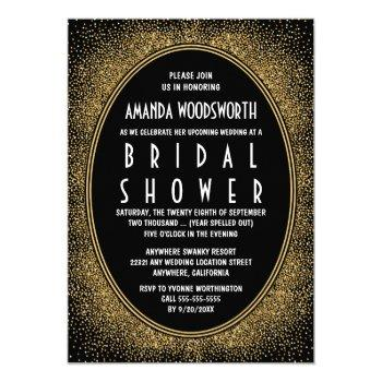 black and gold art deco bridal shower invitations