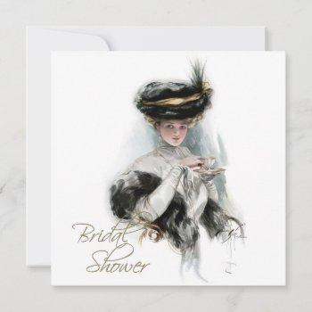 black and gold vintage bridal tea shower invitation