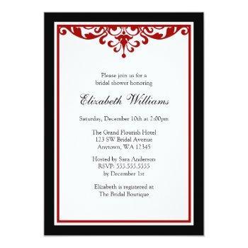 black and red flourish bridal shower invitation