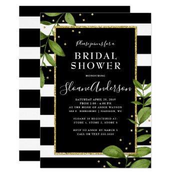 black and white botanical bling bridal shower invitation