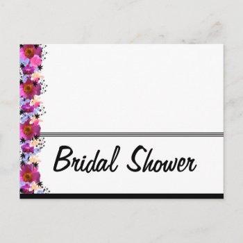 black and white bridal shower invitation postcard