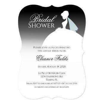 black and white dress elegant bridal shower invitation