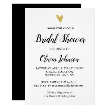 black and white | gold heart bridal shower invitation