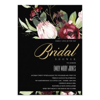 black blush burgundy protea floral bridal shower invitation