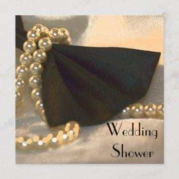black bow tie white pearls couples wedding shower invitation