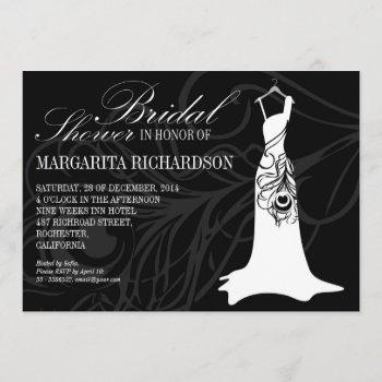 black bridal shower invitations with wedding dress