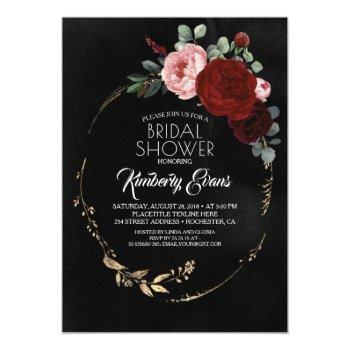 black burgundy red and gold floral bridal shower invitation