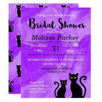 black cats witchy halloween bridal shower party invitation