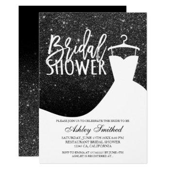 black glitter white chic dress bridal shower invitation