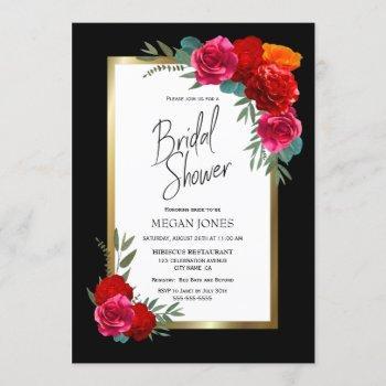 black gold border burgundy floral bridal shower invitation