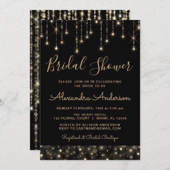 black gold elegant string lights bridal shower invitation