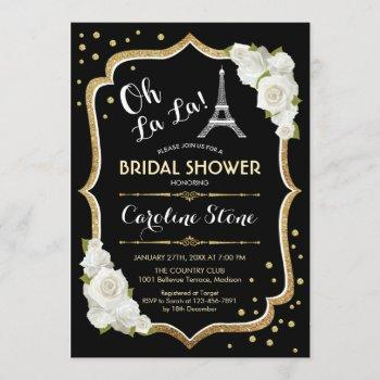 black gold french style bridal shower invitation