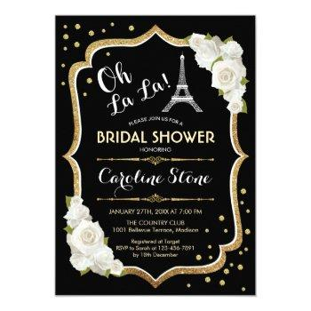 black gold french style bridal shower invitation