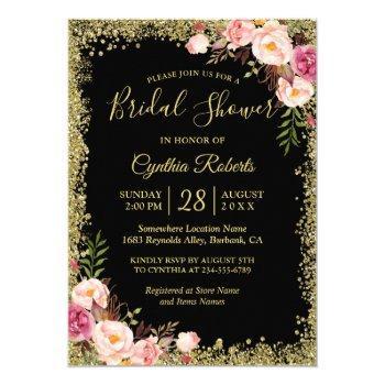 black gold glitters floral glamour bridal shower invitation