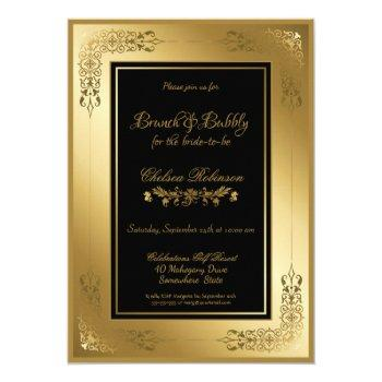 black gold ornate lace border brunch and bubbly invitation