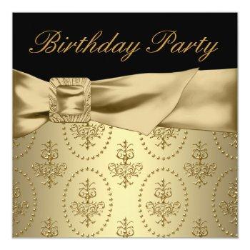 black gold womans birthday party invitation