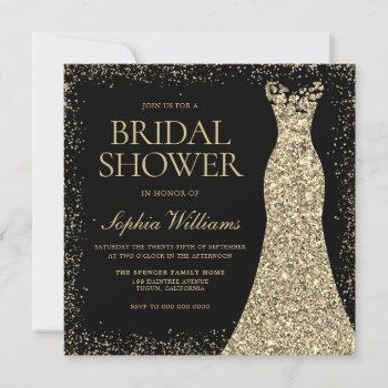 black golden sparkle glitter dress bridal shower invitation