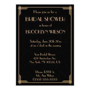 black great gatsby art deco bridal shower invites