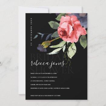 black kraft red roses bunch floral bridal shower announcement