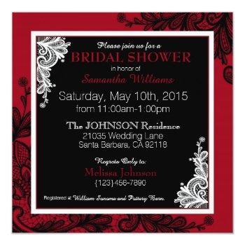 black lace red modern goth bridal shower invitation
