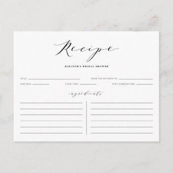 black minimalist script bridal shower recipe card